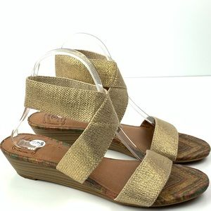 Lucky brand wedges size 8 38.5 Hunter Gold sandals